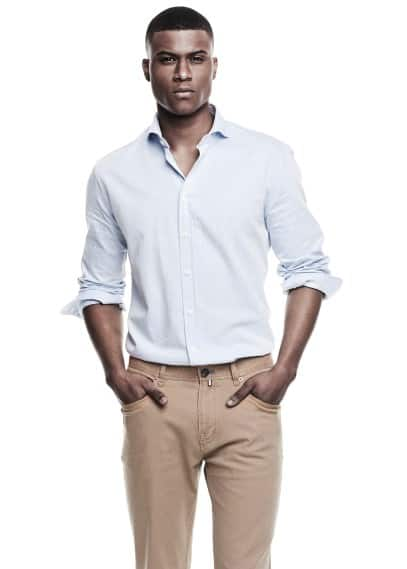 Slim-fit twill cotton shirt