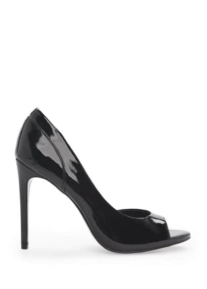 Patent peep-toe stiletto shoes