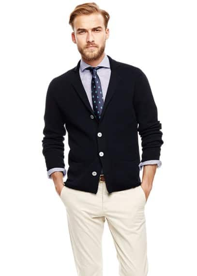 Contrast button textured cardigan