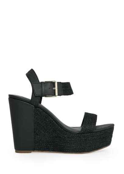 Mixed wedge sandals