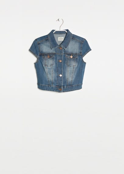 Denim bolero met medium wassing
