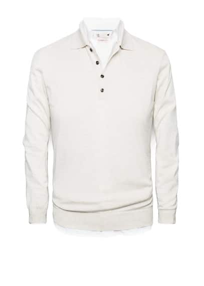 Polo collar silk-blend Premium sweater
