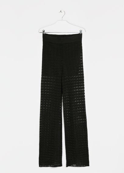 Openwork flared trousers