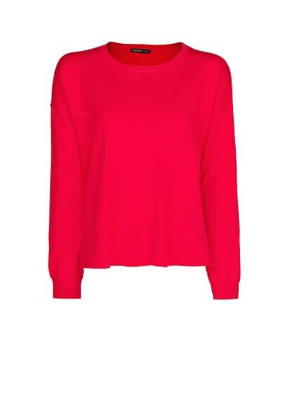 Pullover basic collo stondato
