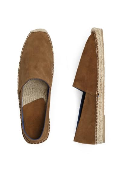 Jute sole suede slip-on shoes