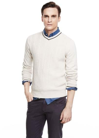 Textured linen cotton-blend sweater