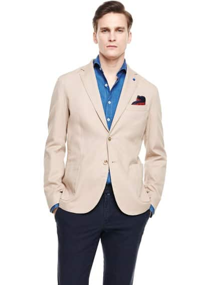 Unstructured textured cotton blazer