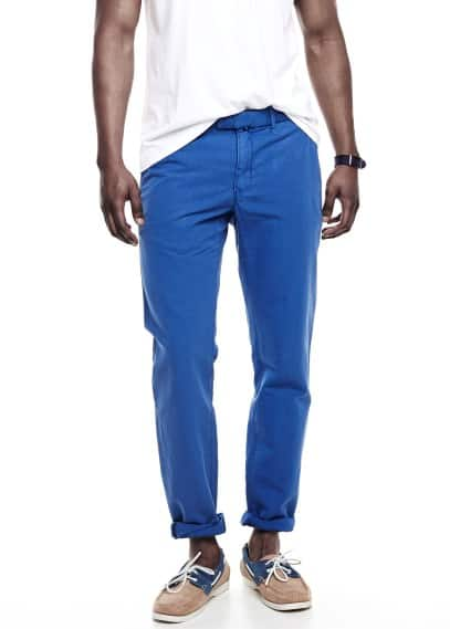 Lniane spodnie chinos slim-fit garment-dyed