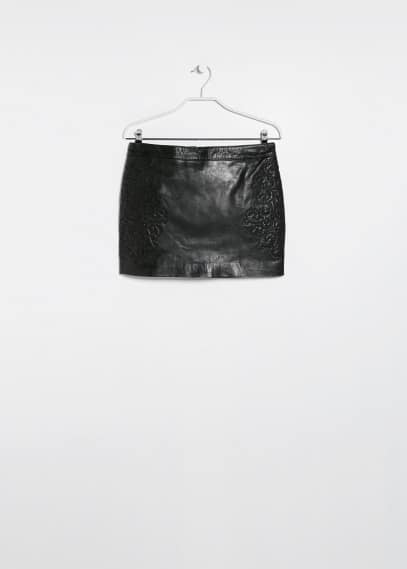 Embroidered leather skirt