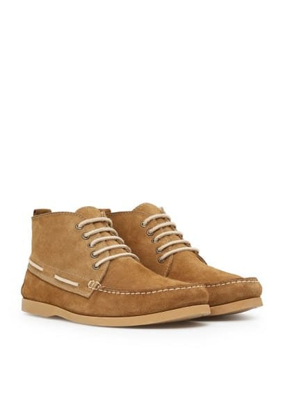 High-top suede boat shoes