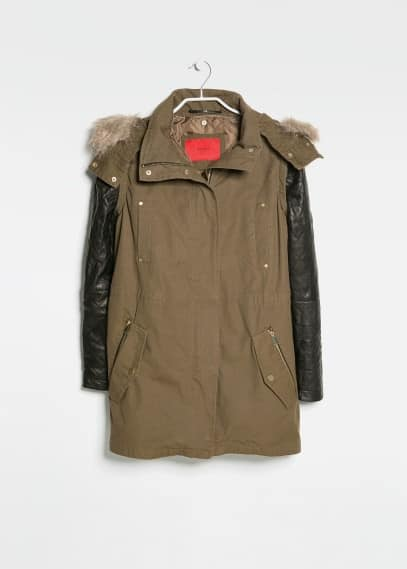 Leather sleeve parka