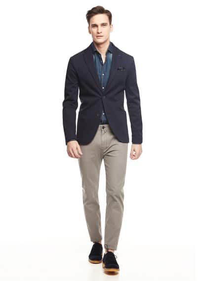 Slim-fit stripe textured blazer