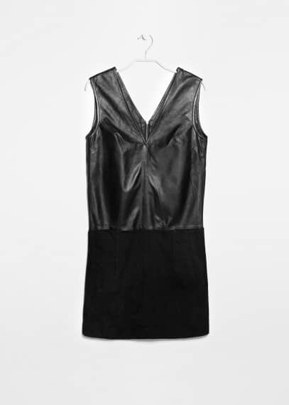 Contrast-bodice leather dress