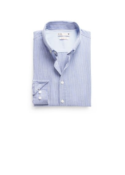Camisa slim-fit seersucker riscas