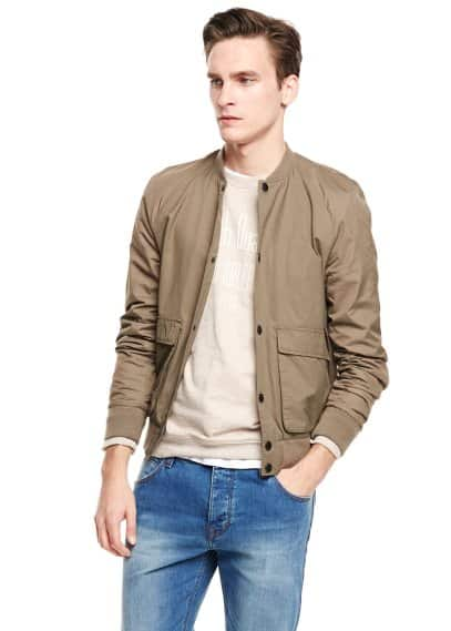 Cotton nylon-blend bomber jacket