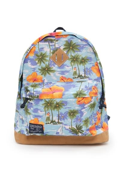 Palm-print cotton backpack
