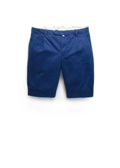 Rolled-up hem cotton bermuda shorts