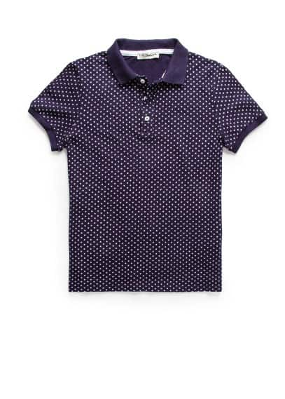 Star print piqué polo shirt