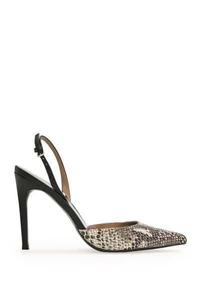 Snake-effect leather combi pumps