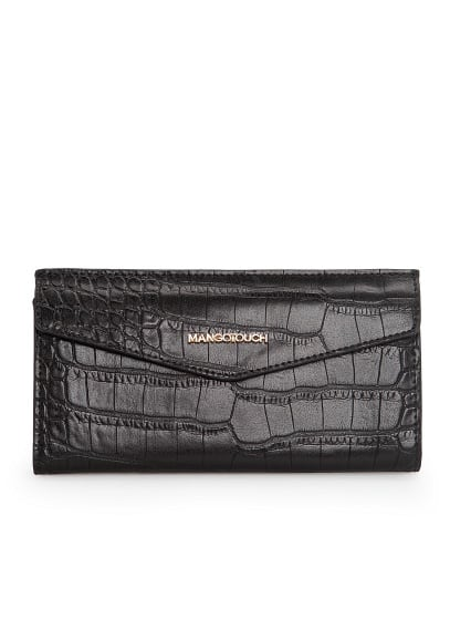 Croc-effect flap wallet