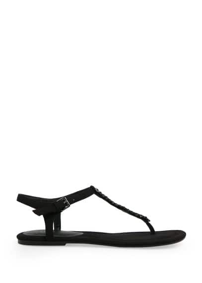 Crystal T-bar sandals