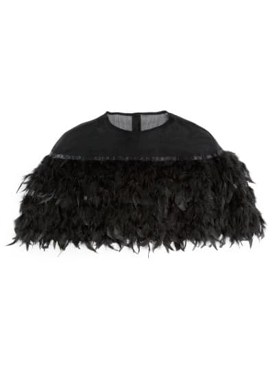 Feather chiffon cape