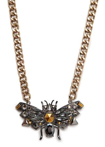 Crystal and rhinestone insect necklace
