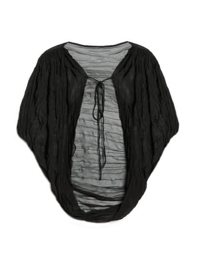 Pleated chiffon cape