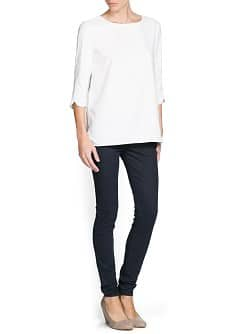 Side slit crepe blouse