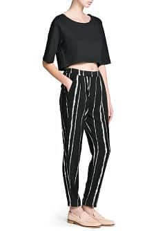 Bicolor striped baggy trousers