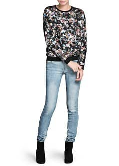 Distressed floral sweatshirt