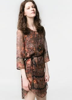 Paisley print chiffon dress