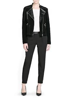 Combi leather biker jacket