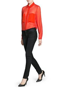 Pocket textured chiffon blouse