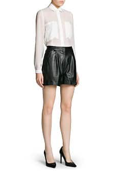 Leren high-waist shorts