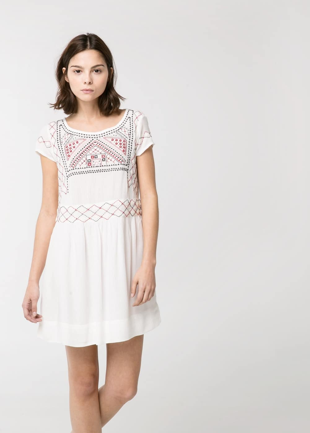 Geometric embroidery dress