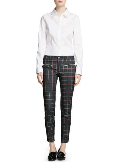 Zip check trousers