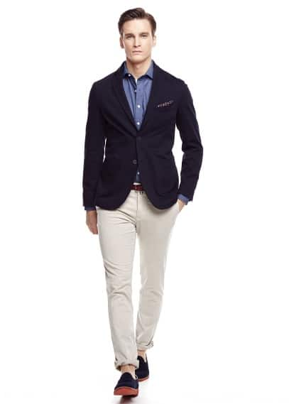 Unstructured cotton-blend blazer