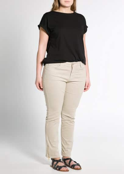 Zip cotton trousers