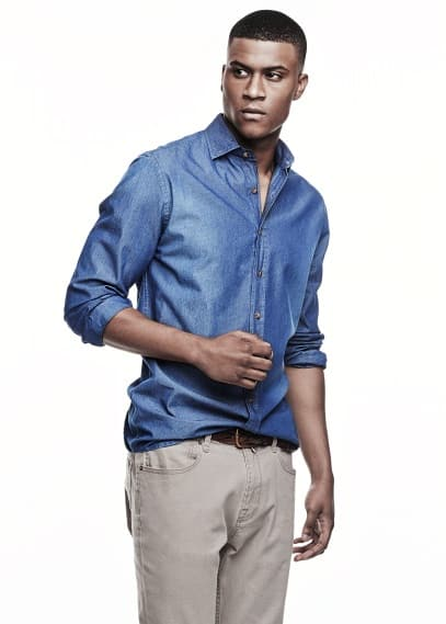 Slim-fit printed chambray shirt