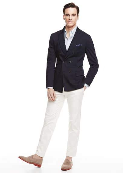 Double-breasted unstructured blazer