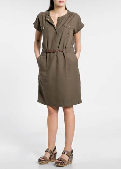 Belted tencel dress