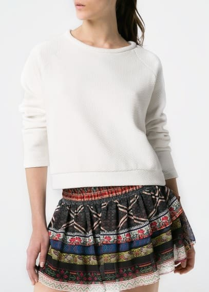 Scarf print ruffled skirt