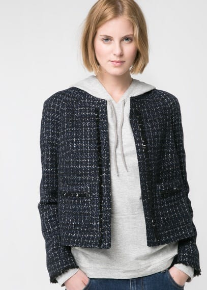Frayed detail bouclé jacket
