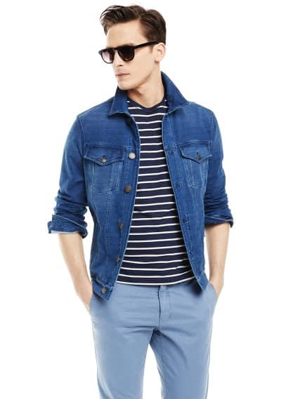 Denim-effect jersey jacket