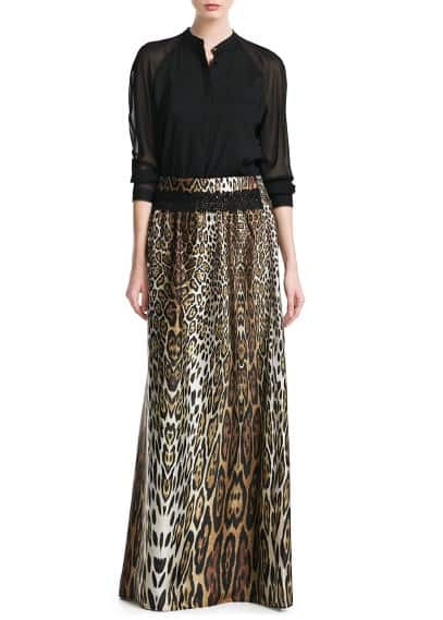 Satin leopard skirt