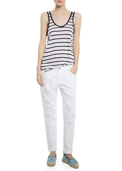 Striped linen-blend top