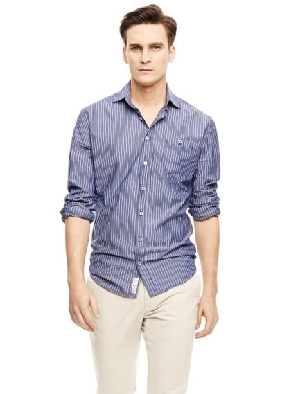 Slim-fit striped chambray shirt