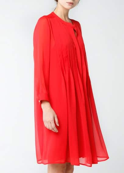 Pleated chiffon dress
