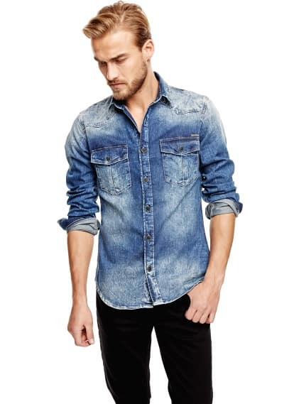 Classic-fit medium denim shirt